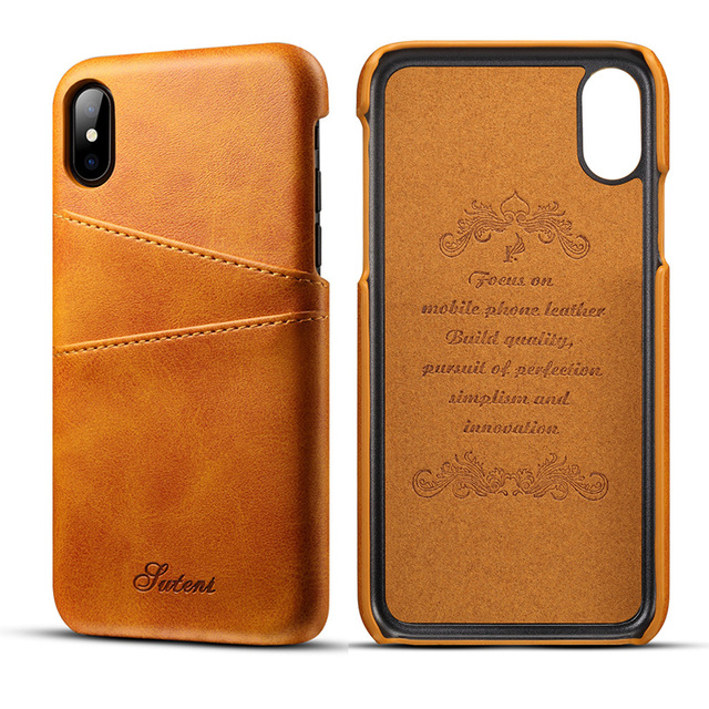 Luxury PU Leather Wallet Card Case For iPhone Xs Max iPhone XR Vintage Credit Card Holder Back