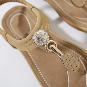 Image 4 - Timetang 夏新ボヘミア女性サンダルラインストーン女性フリップヴィンテージ女性靴ビーチ