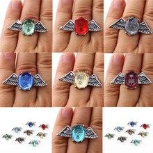 Hitman renascer sawada tsunayoshi anéis de cosplay vongola anéis de liga de cristal asas masculino feminino anéis abertos do vintage 7 cores
