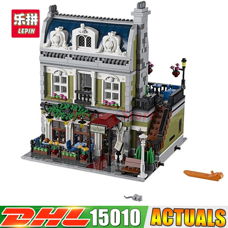 2018 DHL LEPIN 15010 2418Pcs City Street Parisian Restaurant Model Building Blocks Funny Educational Brick Toys Compatible 10243 dhl new 2418pcs lepin 15010 city street parisian restaurant model building blocks bricks intelligence toys compatible with 10243