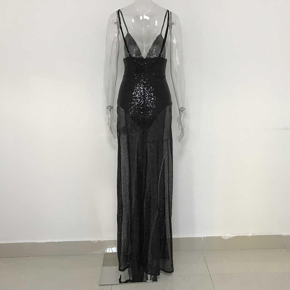 a9687e7d49d53 Jillperi Fashion Women Dresses Deep V Neck Strap High Waist Luxury Elegant  Sequin Dress Sexy Leg Open Backless Maxi Party Dress