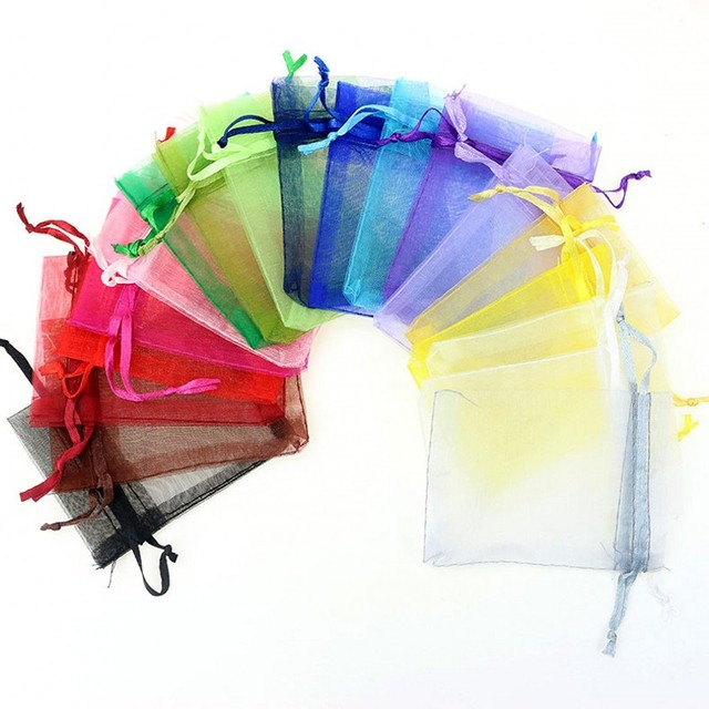 100pcs Size Drawstring Organza Grocery Storage Ng Bags Christmas And Wedding Snack Candy Gift Packaging