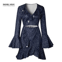 V neck sexy summer long sleeve party UK robe dresses Wave point Ruffles sundress female boho Vichy designer 2128 dress RV0073