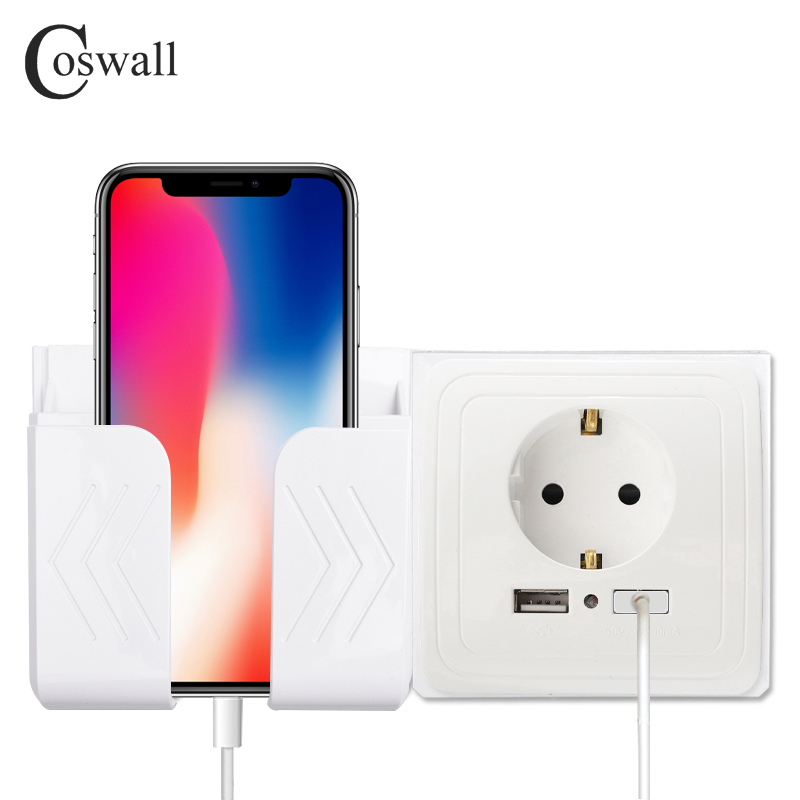 COSWALL Dual USB Port Wall Charger Adapter Charging 2A Wall Charger Adapter EU Plug Socket Power Outlet Panel Grounded Electric