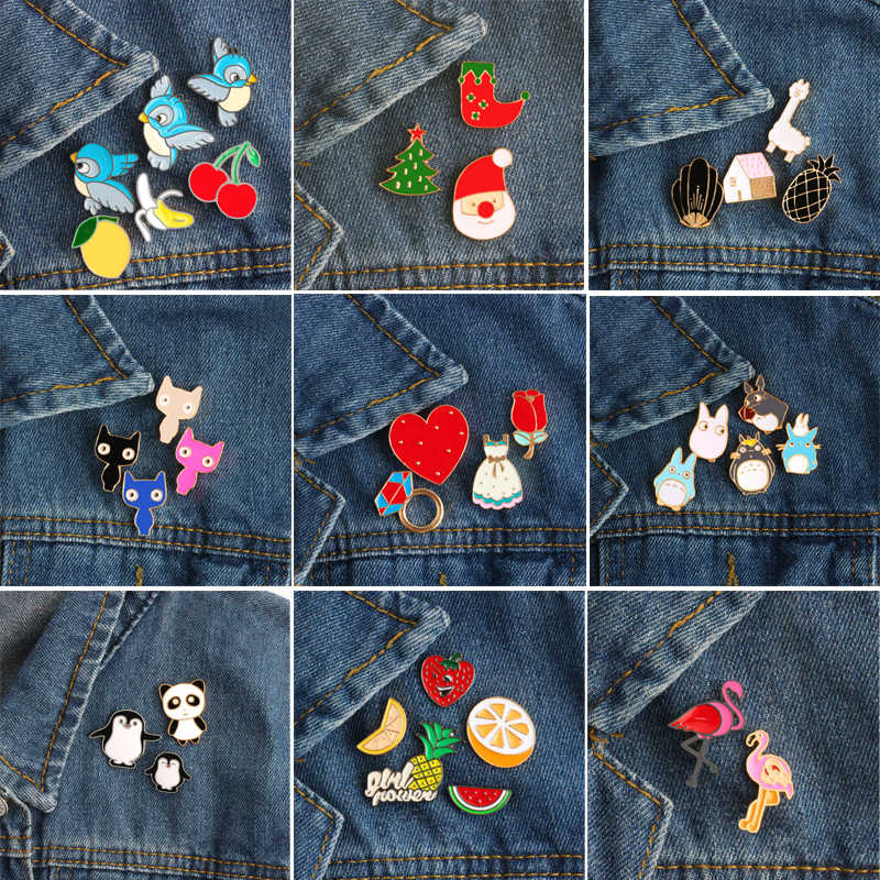 2-6pcs/set Totoro Penguin Bird Panda Cartoon Fashion Brooch Children's Roses Love Heart Female Brooches Christmas Day Gift Badge