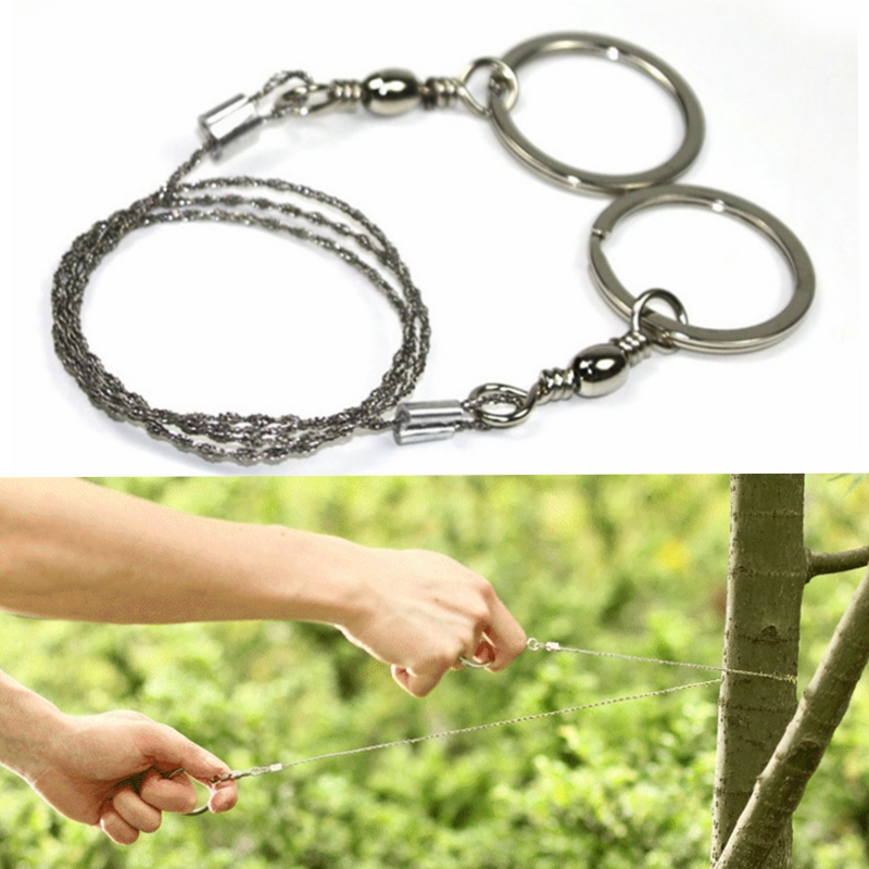 55cm Silver Stainless Steel Wire Saw Emergency Travel Kit Camp Hike Scroll Outdoor Survive Tool Hunt Flint Cut Equipment