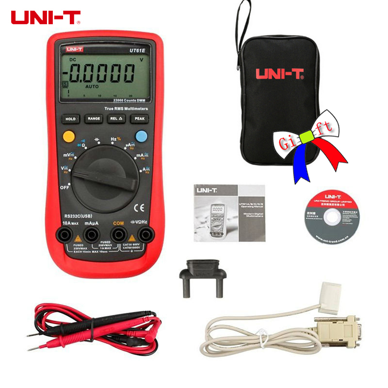 UNI-T UT61E Высокая Надежность Современные Цифровые Мультиметры AC DC метр и 22000 отсчетов удержания данных и pc подключить и сумка