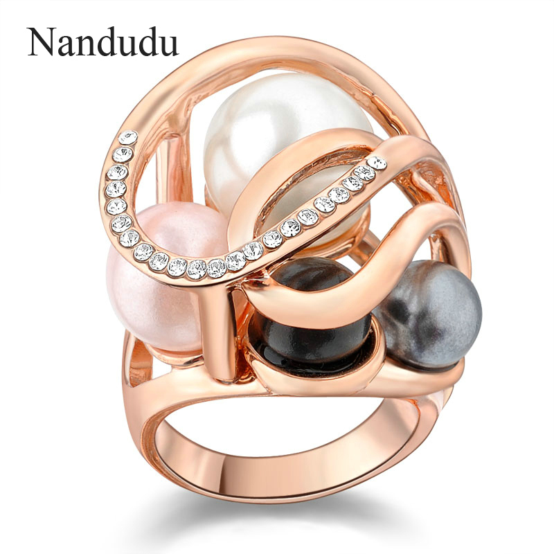 все цены на Nandudu Pearls Crystal Cocktail Ring Rose Jewelry Female Rings Jewelry Gift R806