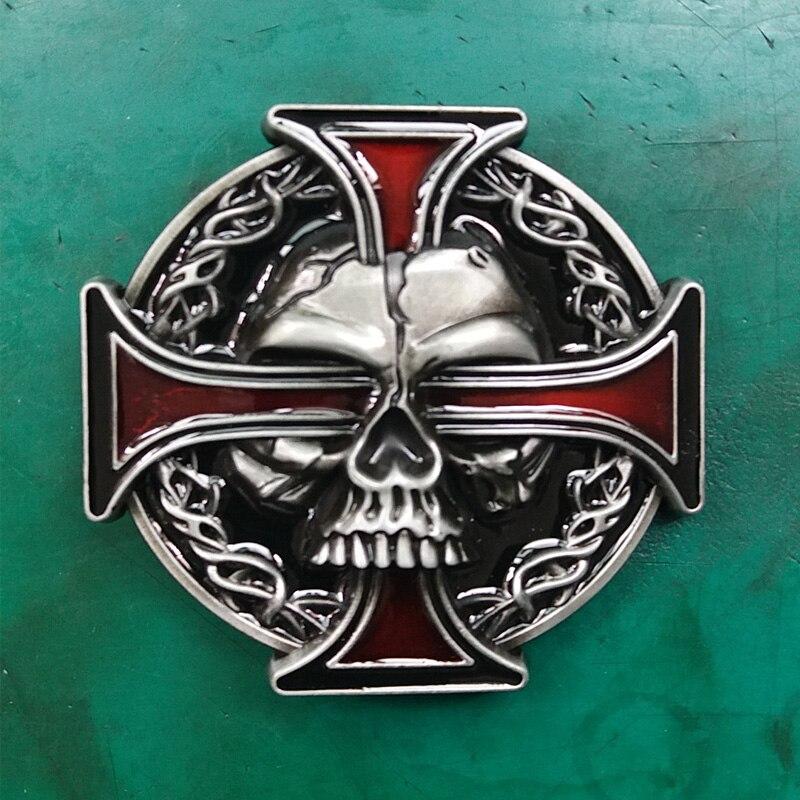 1 piezas de la marca de lujo de la Cruz Roja cráneo cinturón de hebilla