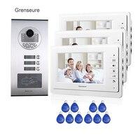 7 Screen Apartment Video Intercom Door Phone System 3 White Monitors RFID Access Door Camera For