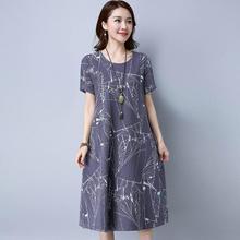 Yfashion Linen Fabric Summer Dress Women Casual Fashion Boho Style Loose Floral Print Round Collar Dresses Dress Vestidos Female цены