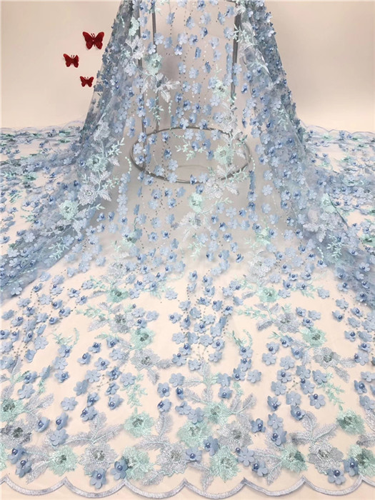 Dernier tissu de dentelle net français belle dentelle de tulle matériel de tulle africain pour la couture HNZ193 (5 yards/lot)-in Dentelle from Maison & Animalerie    1