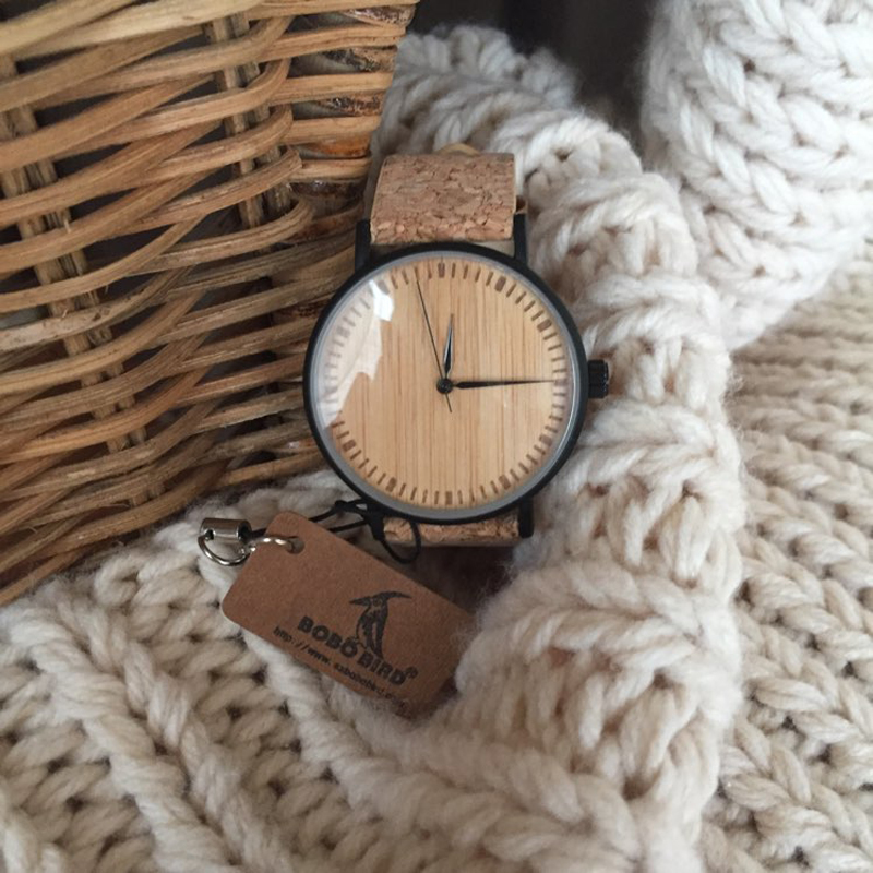 BOBO BIRD LE19 Bamboo Dial Fashion Wooden Watches Mujer Quartz Clock Leather Band Stainless Steel Watch For Ladies