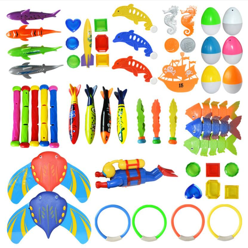 Underwater Swim Pool Diving Toys Summer Swimming Dive Toy Sets Water Rings,Sticks,Octopus,Torpedo Bandits,Fish & Balls(China)