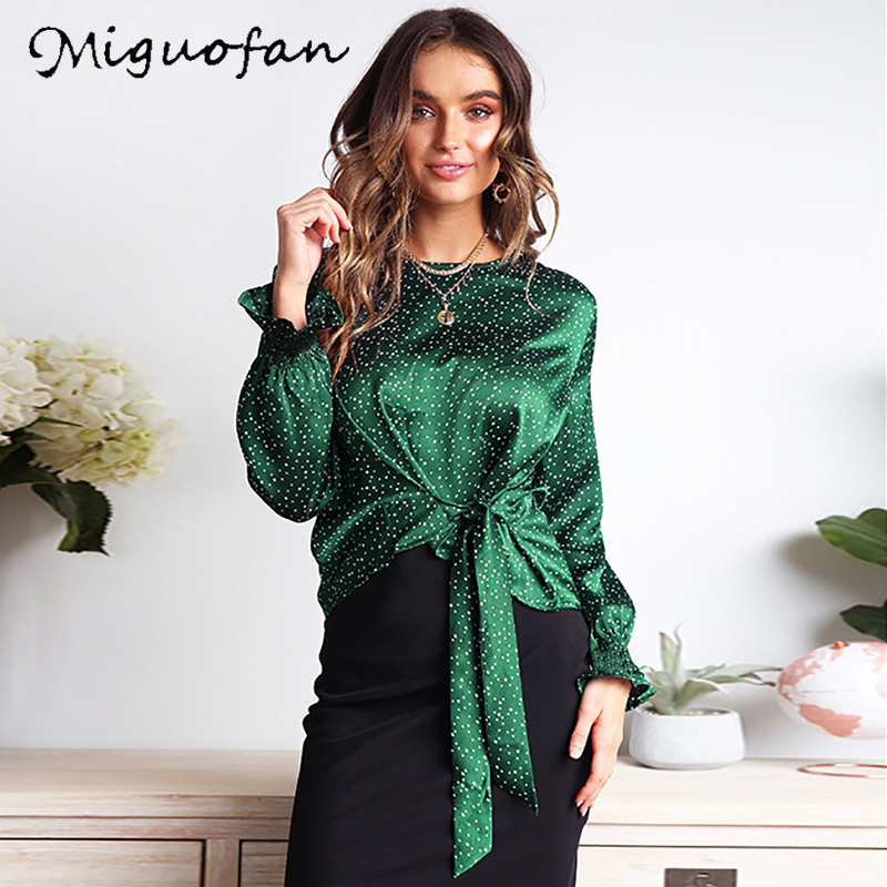 Miguofan Women Polka Dot Print Blouse Shirts Top Bow O Neck Long Sleeve Casual Ladies Tops Blouses Female 2019 Autumn Winter New