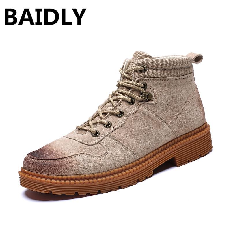 Péage Véritable High Beige Bottes Chaussures Sécurité Hombre Baidly marron Martin De Top En noir Cuir Zapatos Hommes Réel qww0zRpB