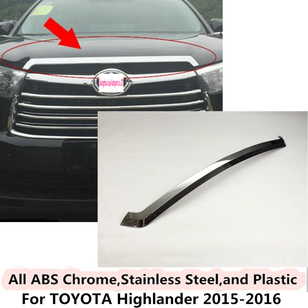 High quality For Toyota Highlander 2015 2016 Car cover Bumper engine ABS Chrome trims Front Grid Grill Grille frame edge 1pcs car body cover abs chrome lamp trim head front bottom grid grill grille modling strip frame 1pcs for toyota rav4 2014 2015 2016