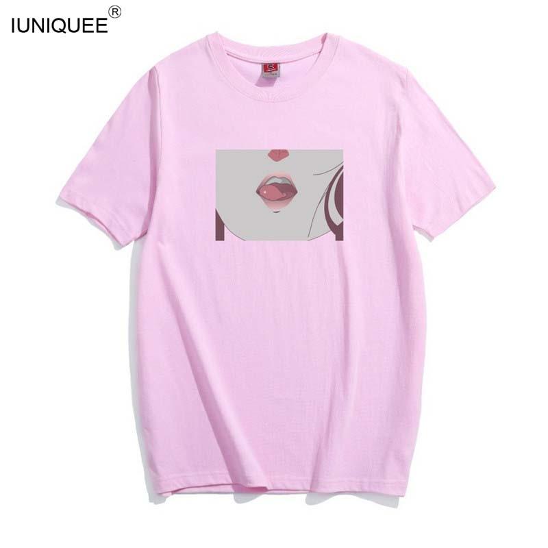 d80f4393139 Tee Shirt Femme 2018 Lip Sexy TShirt Kawaii Korea Ulzzang Harajuku Printed  Women Pink T-