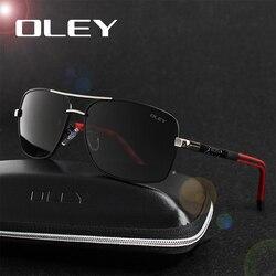 f108e4b49 OLEY العلامة التجارية الاستقطاب النظارات الشمسية الرجال جديد الأزياء عيون  حماية نظارات الشمس مع اكسسوارات للجنسين