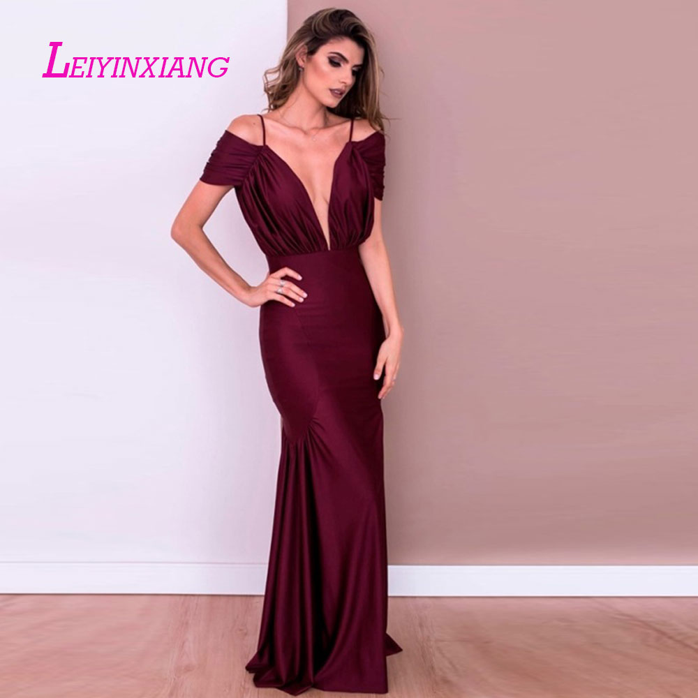 Methodical Leiyinxiang 2019 Prom Dress Nuevo Vestido De Noche Largo Piso Longitud De La Sirena Que Rebordea Lentejuelas Sexy Trumpet V-neck Good For Antipyretic And Throat Soother Celebrity-inspired Dresses