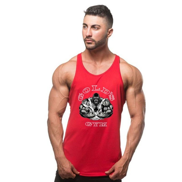2018 New Fashion Golds Tank Top Men Sleeveless Shirt Bodybuilding Fitness Men's Cotton Singlets Muscle Clothes Workout Vest