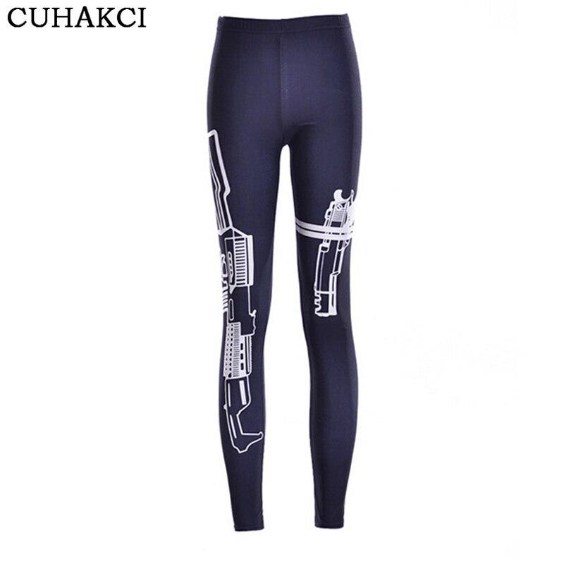 CUHAKCI Fitness Leggings Work Out Gun Print Legging Women Sporting Legging Hot Punk Gothic Harajuku Sportwear Sexy Leggins K110