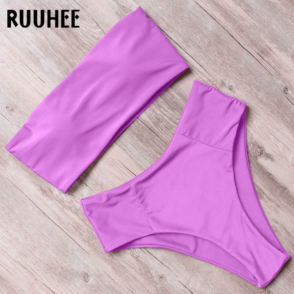 RUUHEE Solid Bikini Swimwear Swimsuit Women 2019 Bikini Set Strapless Bandage Bathing Suit High Waist Female Beachwear Swimsuit