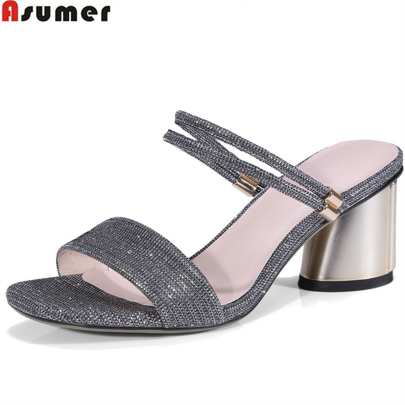 ASUMER green silvery fashion summer 2018 new arrival shoes woman elegant thick heel women sandals big size 34-42 asumer 2018 summer new arrival women