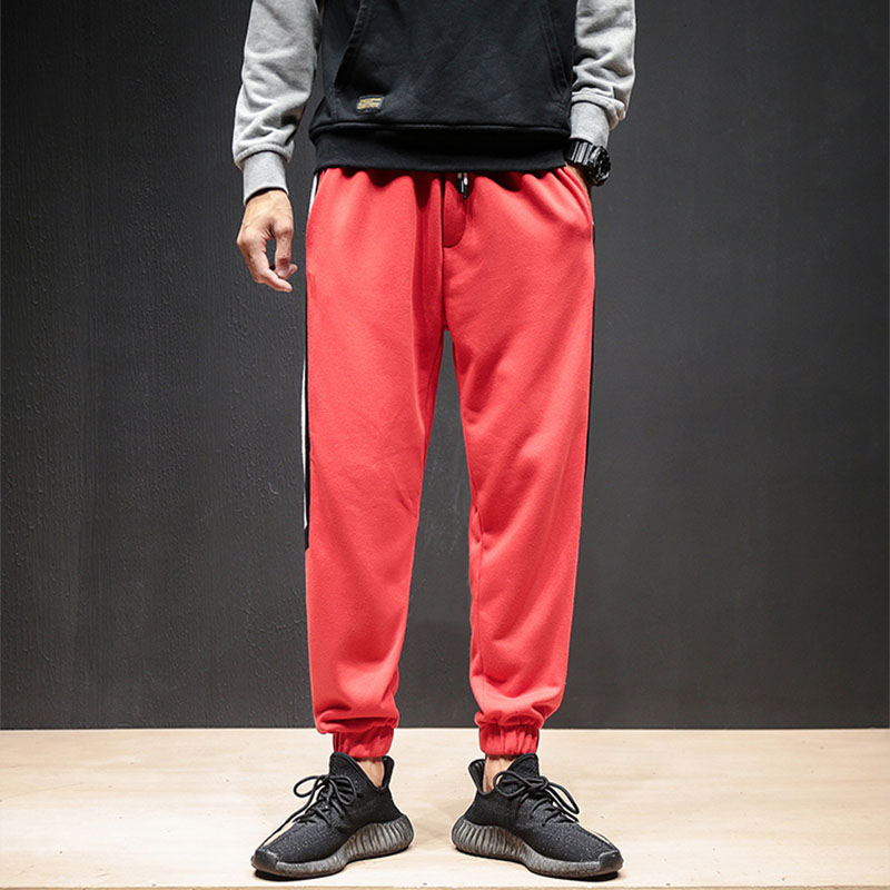 Plus Size 4 colors  Fashion Loose Large Size Lattice Fashion High Street Leisure Pants Hip-hop  Pants Male Hallen Sports Pants(China)