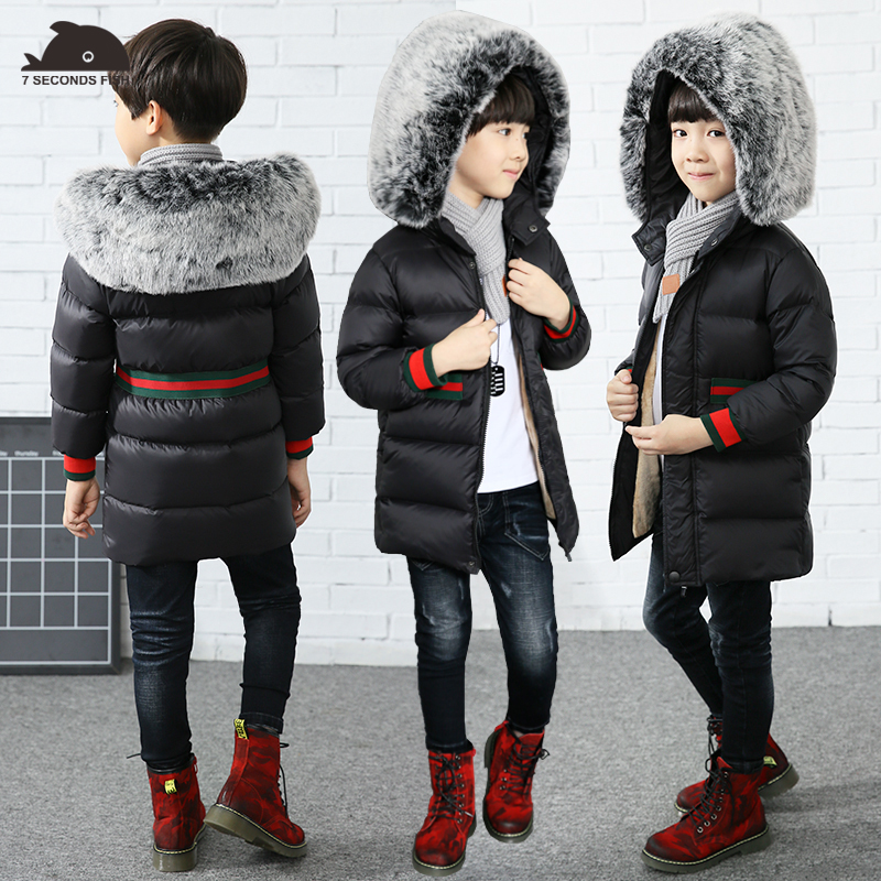 boy winter coat 2017 Flannel lining larger hooded warm padded cotton kids jacket Suitable for extremely cold weather