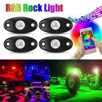 Samochód RGB LED Rock Underglow zestaw oświetleniowy Underbody wodoodporny Trail Rig neonowe światła zestaw oświetleniowy z komórką aplikacja na telefon Mini bluetooth tanie i dobre opinie NoEnName_Null Klimatyczna lampa Rock Lights Coment Wrangler 9W PCS For Jeep wrangler Harley Car ATV