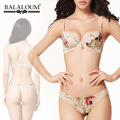 Balaloum Floral Printing Bra Set Thong Comfort Summer Gathering Push Up Lingerie Set Plus Size 85B 85C
