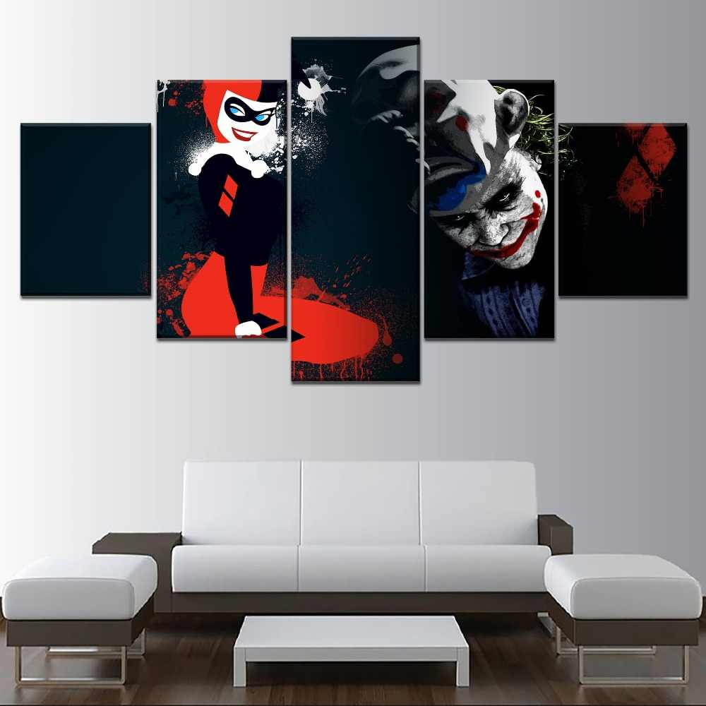 Canvas Hd Print Picture Wall Artwork 5 Piece Joker Comic Harley Quinn Painting Home Decoration Modular Poster Living Room Framed