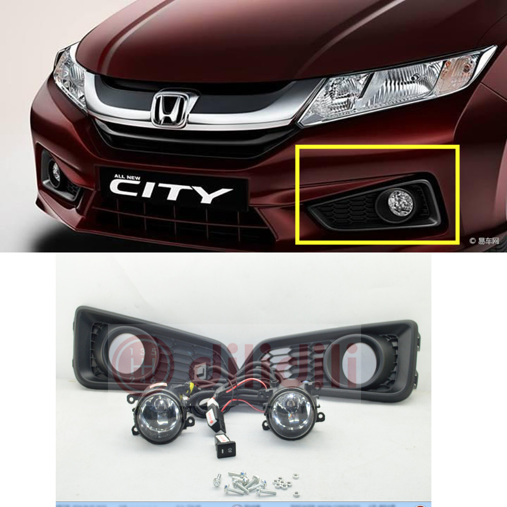 Oem fog light lamps & wire harness switch kit for honda city  2014-