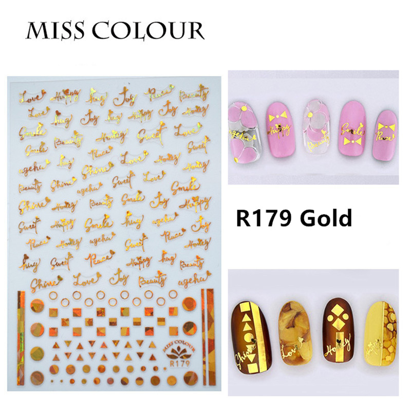 1 Sheet Japanese Ultrathin Amaily Letter Laser Nail Sticker Designs Gummed 3D Nail Art Stickers Decals Salon R175 Gold Silver in Stickers Decals from Beauty Health