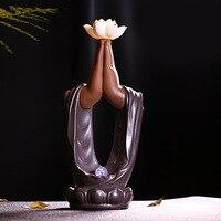Gift 20Cones Creative Tearoom Yoga Decorations Handmade Zen Buddha Hand Lotus Backflow Incense Burner Mascot Led Incense Burner