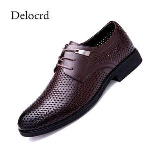 ded5fd2822fb Summer Genuine Leather Black Men Dress Shoes Delocrd