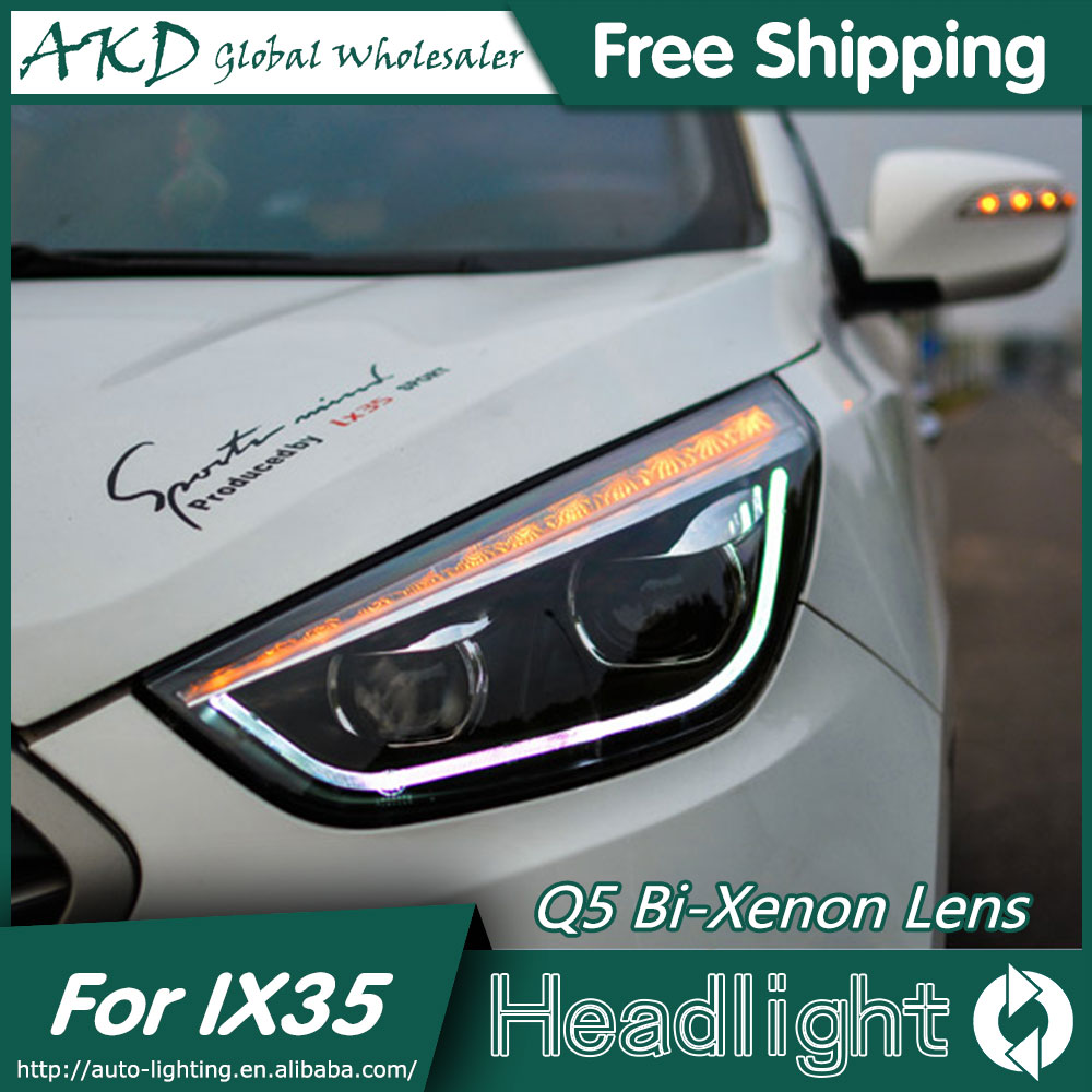 AKD Car Styling Head Lamp for Hyundai IX35 Headlights New Tuscon LED Headlight LED DRL Bi Xenon Lens High Beam Parking Fog Lamp akd car styling for nissan teana led headlights 2008 2012 altima led headlight led drl bi xenon lens high low beam parking