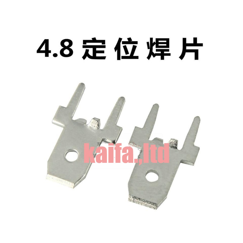 цена на 100pcs 4.8 Inserts Plug Spring Terminal PCB Solder lug type thickness 0.8mm two legs,187 male Terminal PCB welding sheet