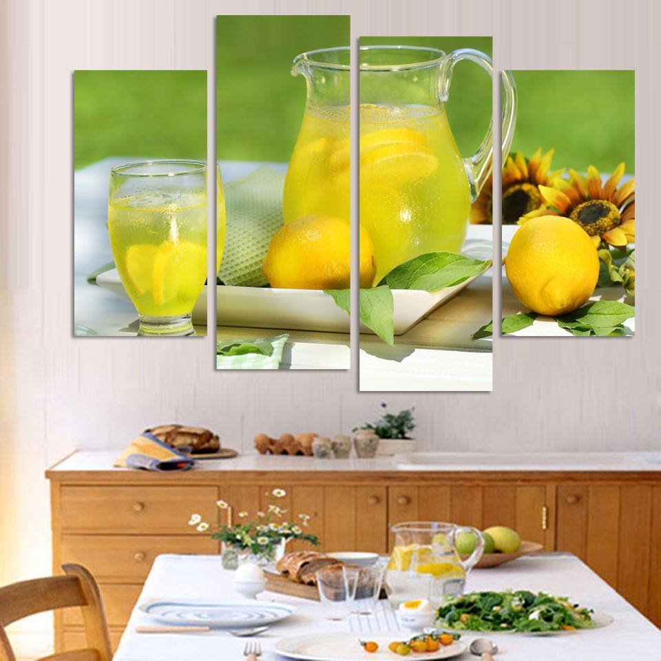 4 panely moderní tištěné ovoce citronová malba na plátně Kicthen Decor Cuadros Krajina pro obývací pokoj (bez rámečku)