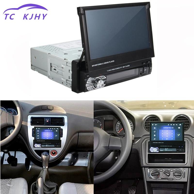 2018 Auto Car Radio Car Stereo Audio Radio Bluetooth 1din 7inch Hd Retractable Touch Screen Monitor Dvd Mp5 Sd Fm Usb Player 1din 7inch slip down touch screen universal car stereo fm bluetooth mp3 mp4 audio player manual pull out