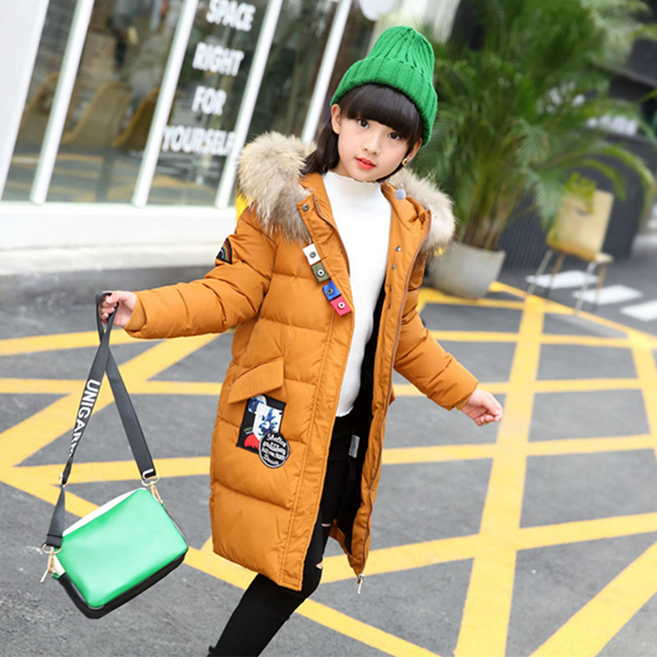2017 Winter Warm Children Down Jacket for Girls Thicken Natural Fur Collar Hooded Duck Down Coat Kids Outerwear Overcoat Parkas 2015 hot new winter thicken warm woman down jacket coat parkas outerwear hooded fox fur collar luxury long brand plus size 2xxl