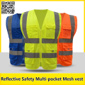 Men's  Multi-pocket Reflective safety vest work vest quick dry Fluorescent yellow workwear blue vest free shipping