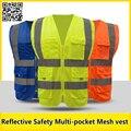 Multi-bolso dos homens workwear Fluorescente amarelo Refletivo de segurança colete de trabalho colete de secagem rápida colete azul frete grátis