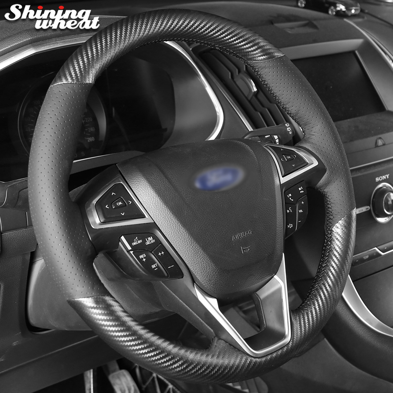 Hand Sew Black Leather PU Carbon Fiber Steering Wheel Cover for Ford Fusion Mondeo 2013 2014
