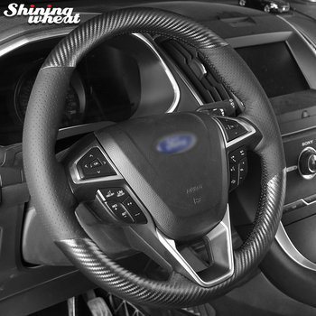 Hand Sew Black Leather PU Carbon Fiber Steering Wheel Cover for Ford Fusion Mondeo 2013 2014 - sale item Interior Accessories