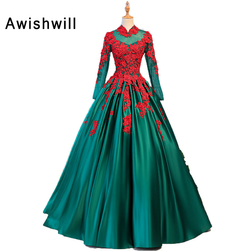 2019 Green Long Formal Gowns High Neck Beaded Lace Satin Long Sleeve Vintage Evening Dress Ball