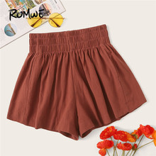 ROMWE Casual Solid High Waist Shorts Womens Clothing2019 Summer Elastic Loose Ladies Mini Short Pants