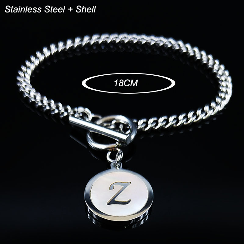 2019 Fashion Punk Letter Z Shell Stainless Steel Chain Bracelet Women Silver Color Bracelets Jewelry pulseira feminina B18409 in Chain Link Bracelets from Jewelry Accessories