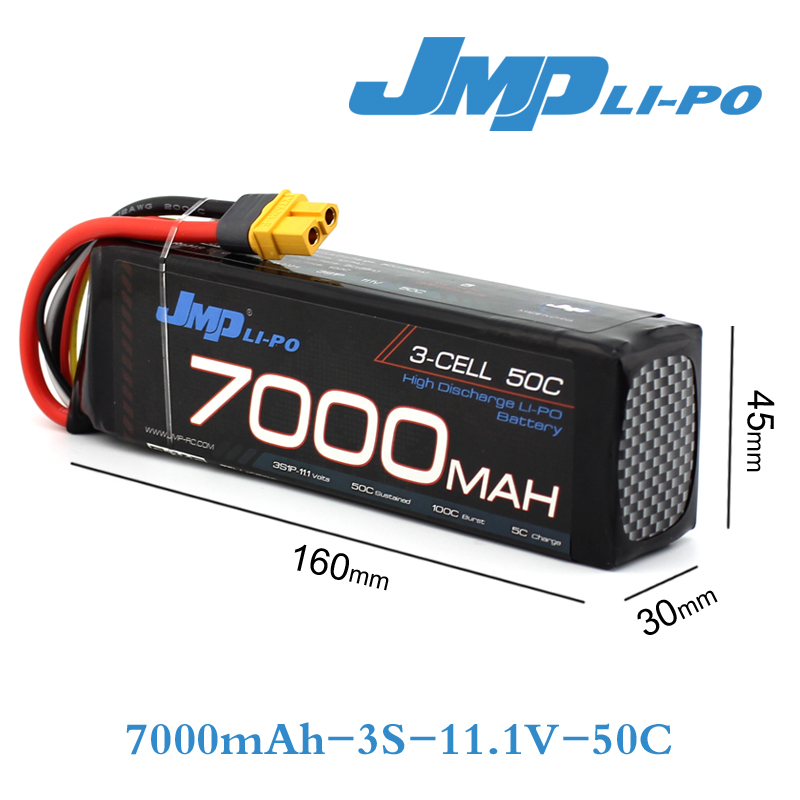 JMP Batterie Lipo 3 S 7000 mAh Lipo 11.1 V Batterie 50C Batterie pour 1/10 Voiture 1/8 RC Voiture pour Traxxas E-REVO SLASH HPI FLUX NERO